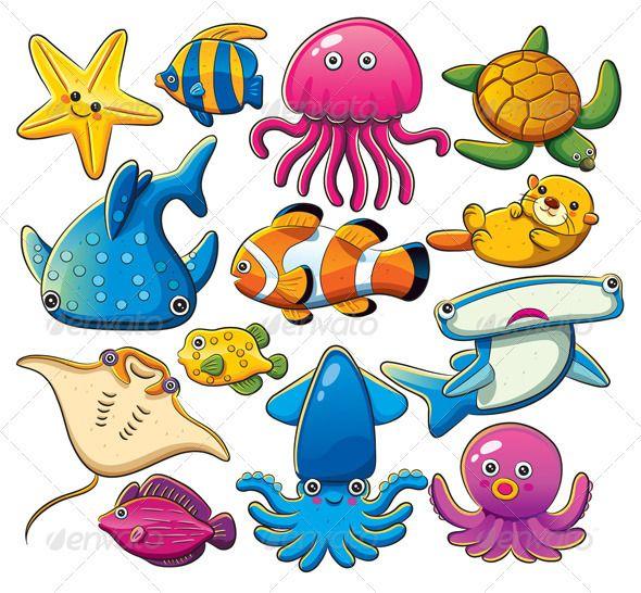 Sea Animals Collection Sea Animals Drawings Marine Animals Sea Animals
