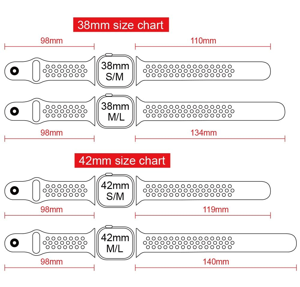 Elastic Breathable Silicone Sport Band For Apple Watch With 42 Mm