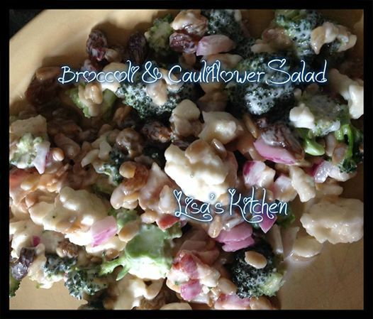 Photo: Lisa's Broccoli & Cauliflower Salad   LOVE Recipes?!! FOLLOW my page on Facebook ---> https://www.facebook.com/dakoto70  2 cups Cauliflower 2 1/2 cups Broccoli 10 slices of crisp cooked bacon chopped up  1 cup raisins  1 cup sunflower seeds 1/4 cup red onion chopped   Dressing 1/2 cup Mayo 5 tablespoons white vinegar  1/4 cup white sugar  Mix all dressing ingredients and set aside. Cut up broccoli and cauliflower into bite size pieces, add rest of the ingredients, pour dressing and…