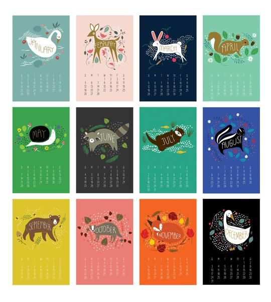 Year Calendar Animal : Enchanted animals calendar featuring original
