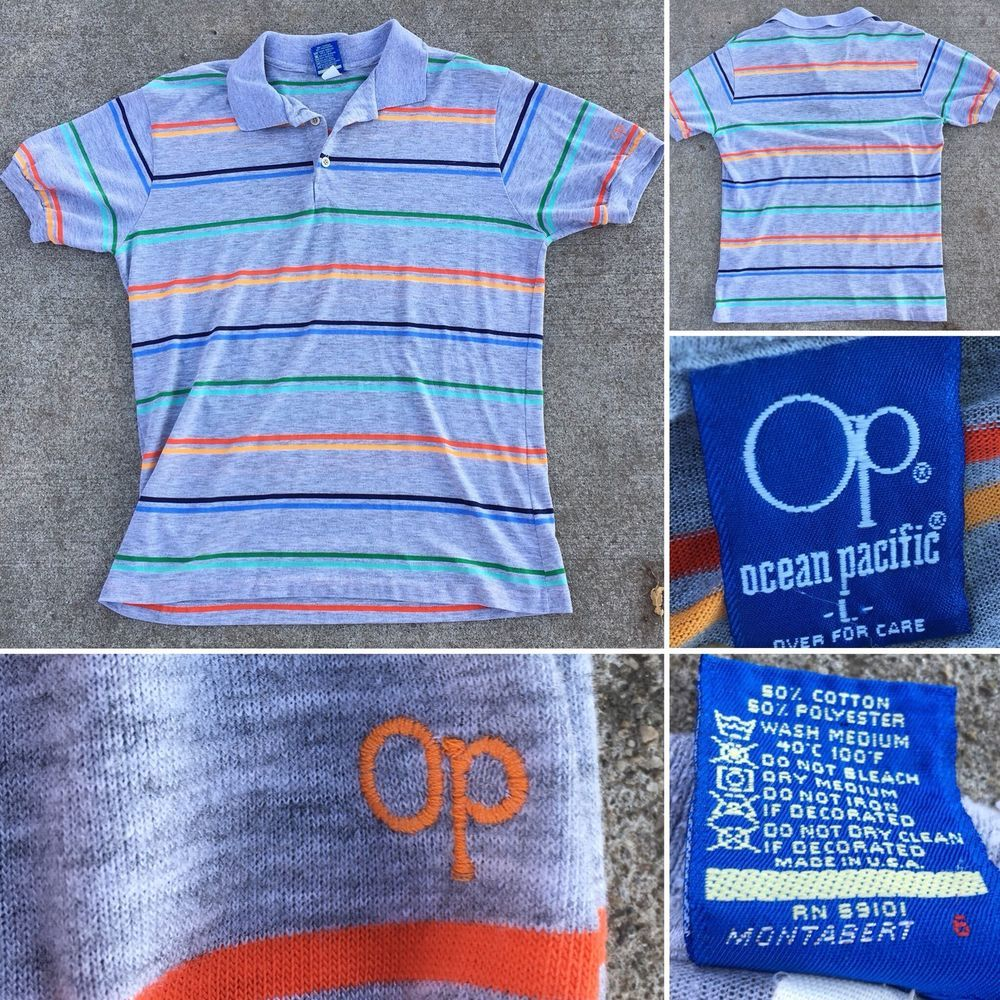 Vintage Op Ocean Pacific Striped Shirt Polo Shirt L Made In Usa Thin