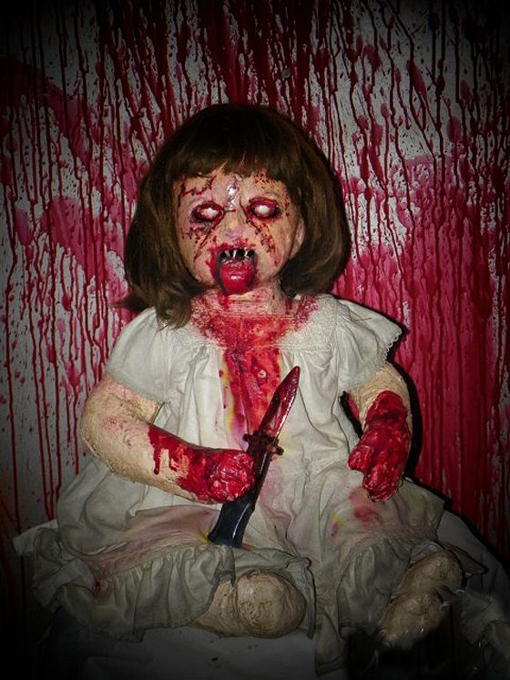 home made scary halloween decorating ideas DEMONIC DOLLY Haunted - terrifying halloween costume ideas