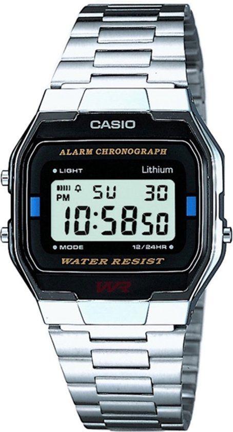 €29,99 Casio Retro A163Wa-1Qes - Horloge - 33 mm - Staal - Zilverkleurig