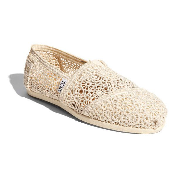 Women's Toms 'Classic' Crochet Slip-On ($59) ❤ liked on Polyvore featuring shoes, flats, toms, zapatos, slip on shoes, floral print flats, crochet shoes, slip-on shoes and floral print flat shoes