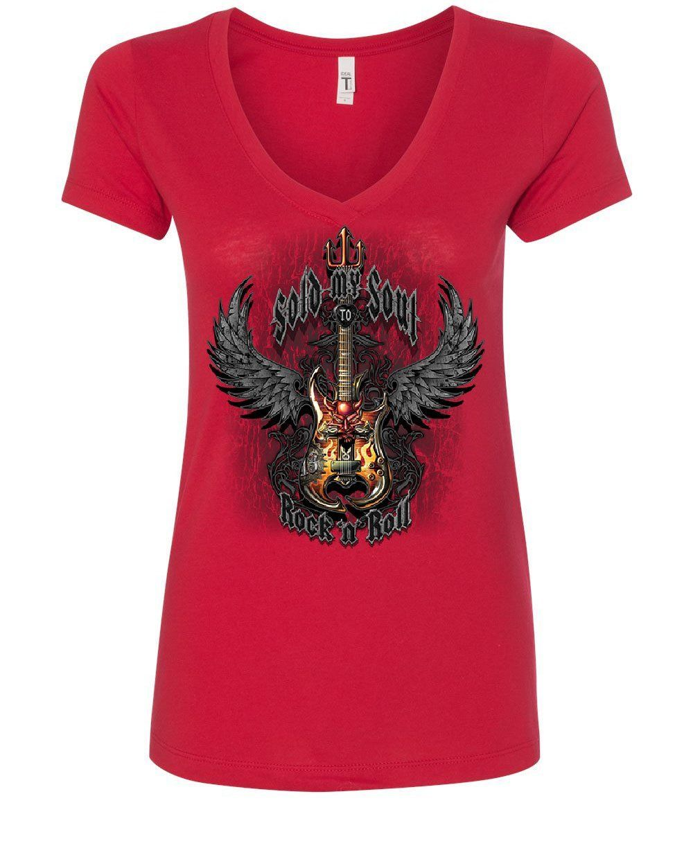 Sold My Soul to Rock /& Roll Women/'s V-Neck T-Shirt Demon Guitar Wings Trident