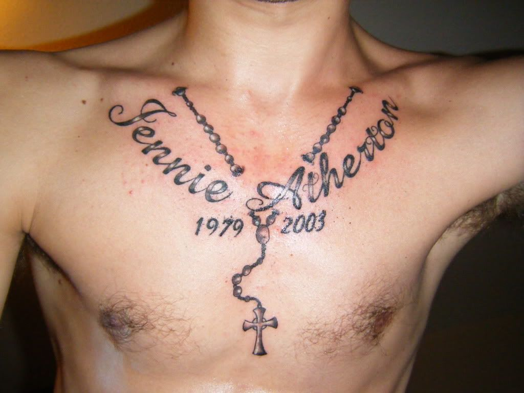 Rosary tattoos for men on arm - Rosary Beads Tattoo Designs On Chest Neck Tattoo