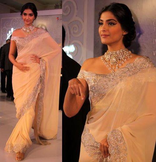 Sonam Kapoor In Suneet Verma Saree Wearing Off Shoulder