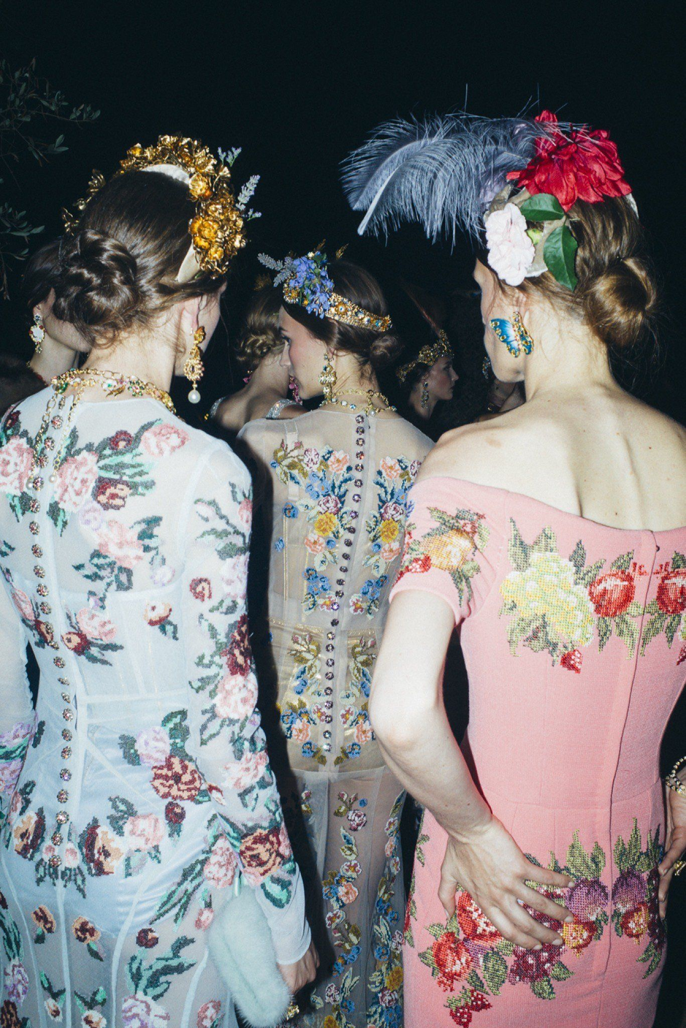 Backstage at Dolce & Gabbana Alta Moda