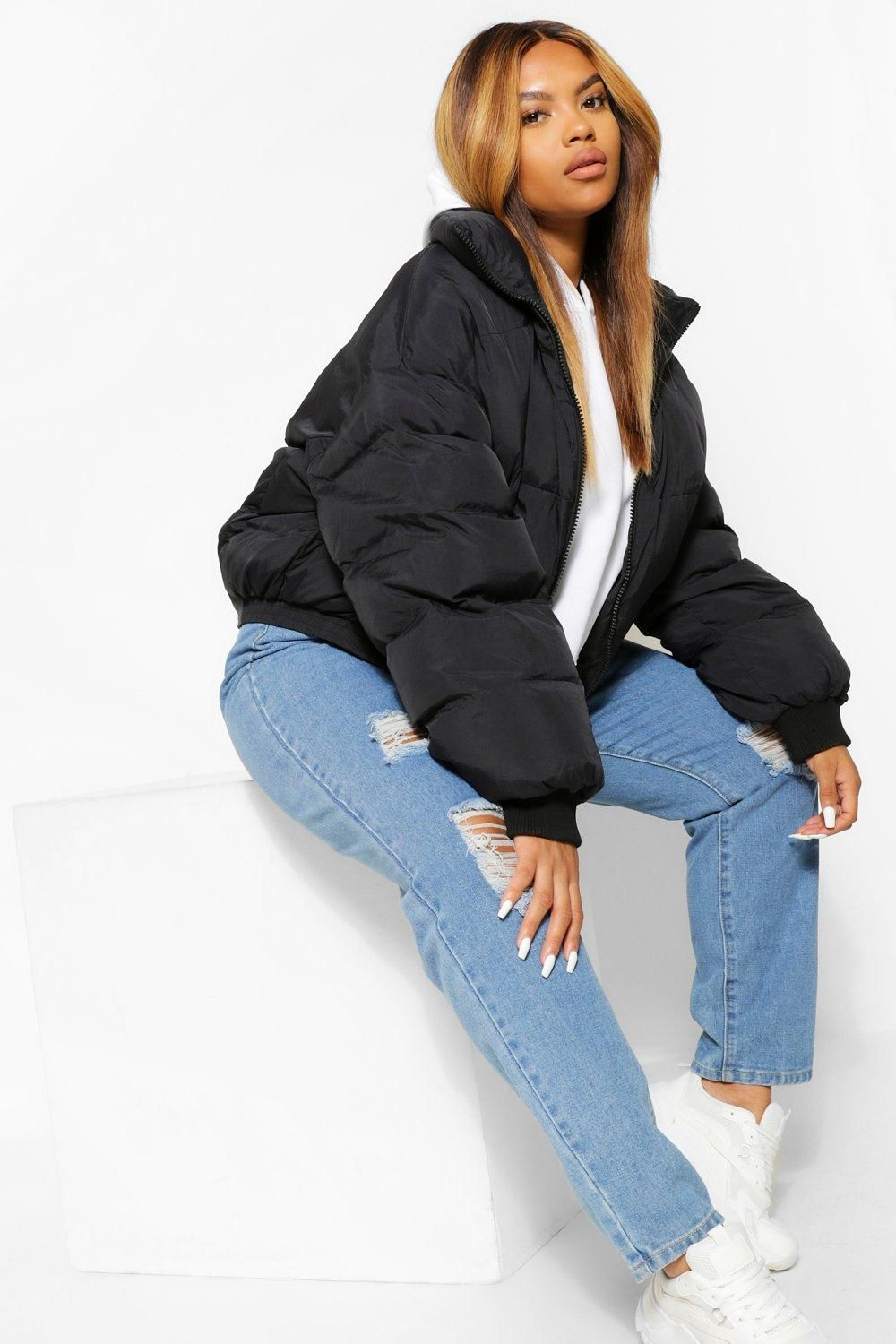 Plus Funnel Neck Cropped Puffer Jacket Boohoo Jacket Outfit Women Puffer Jacket Women Puffer Jacket Outfit [ 1500 x 1000 Pixel ]