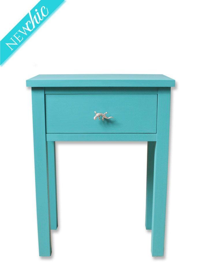 Mesita azul aguamarina con 1 cajón | Bazar Vintage & Chic: Muebles ...
