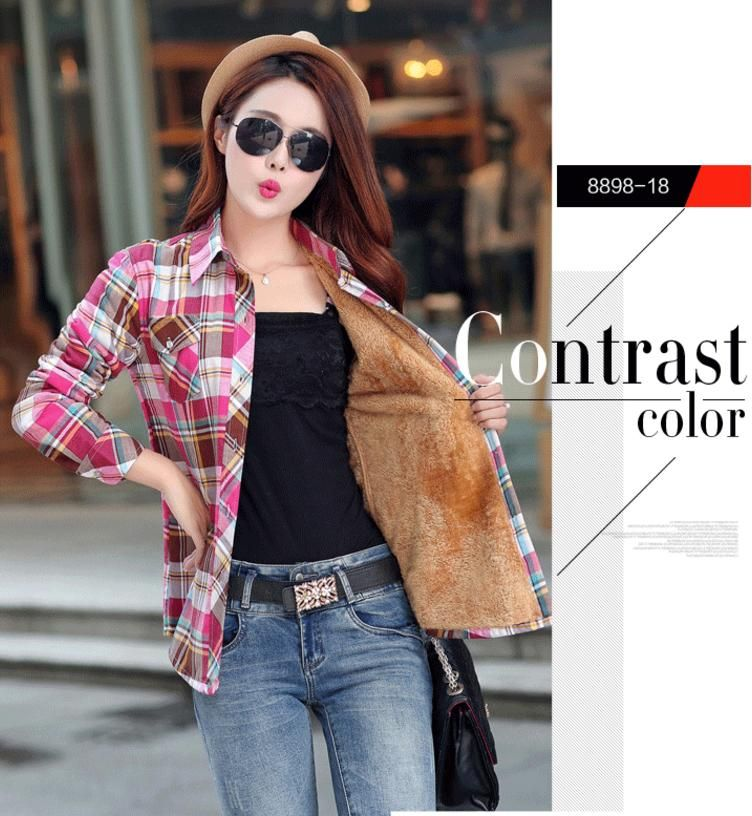 SPARSHINE Women's Plaid Shirt 20 Colors Flannel Thick Warm Female Long Sleeve Tops M-XXL Winter Check Blouse Blusas Femininas – 18 coffee red / L