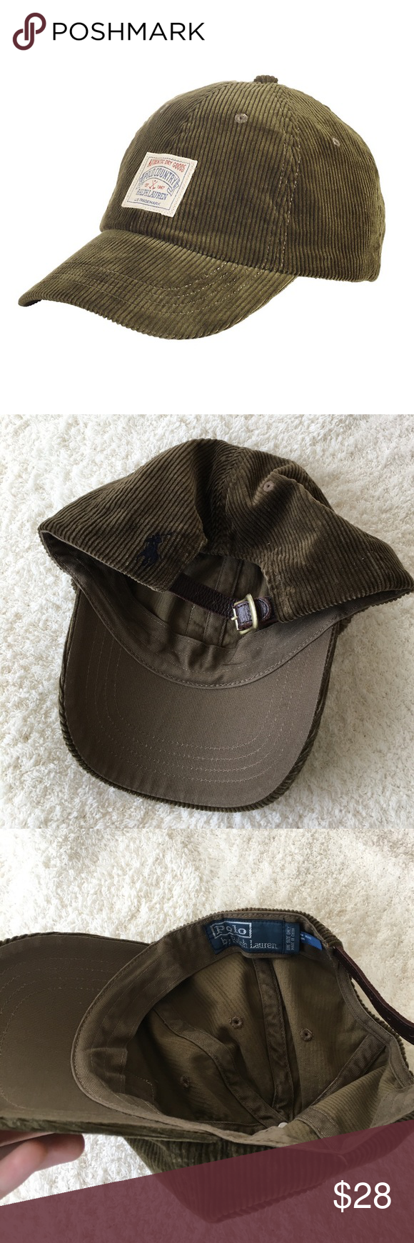 0e7ca6125ff Polo Ralph Lauren Corduroy Baseball Cap Olive green distressed corduroy hat  with leather strap and polo horse logo on the back. No signs of wear!