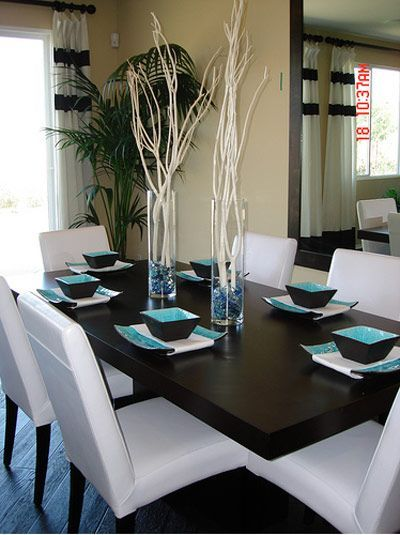 In The Dining Room The Furniture Is All Neutral Leaving The Interesting Turquoise Dining Room Decorating Inspiration