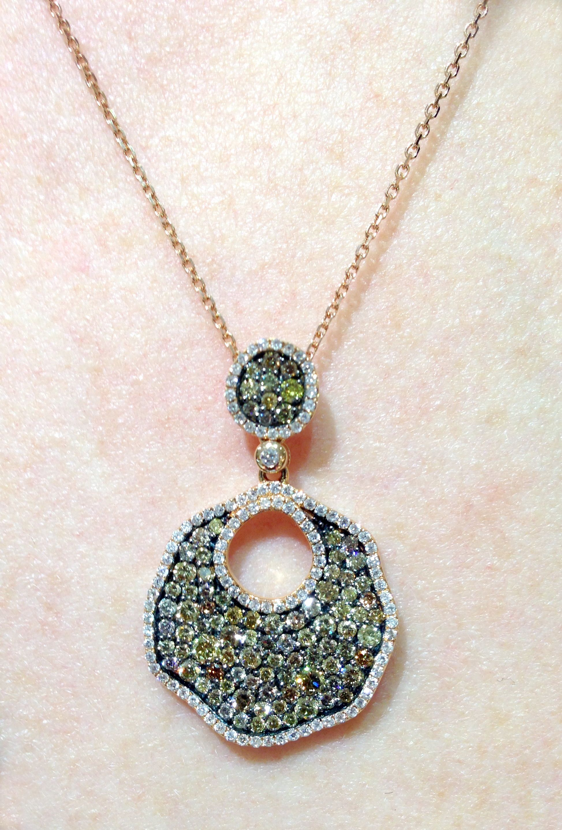 Diamond fashion pendant in 14k rose gold with 2.0 cts of colored and white diamonds. Call for pricing.