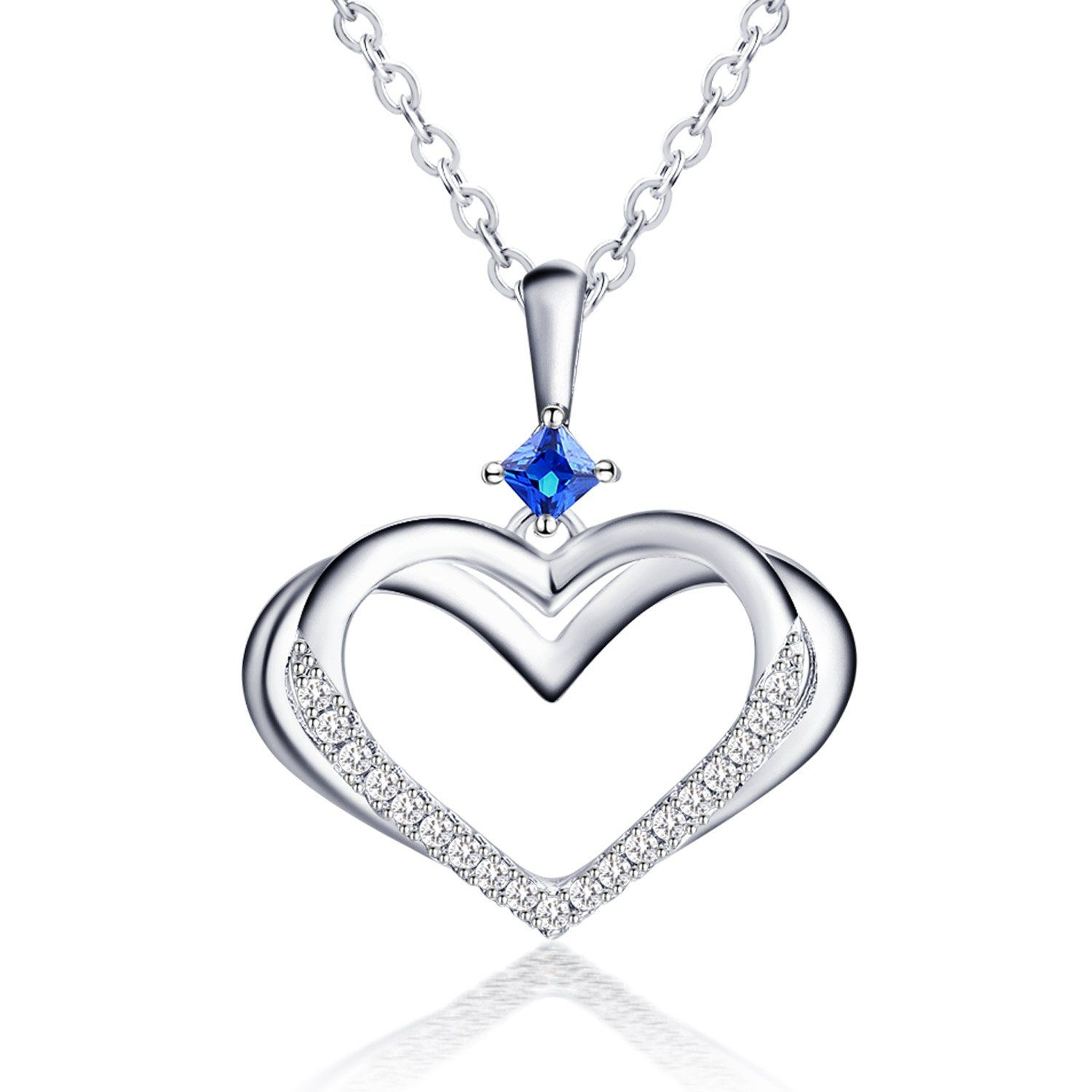 Photo of Caperci Sterling Silver Kindred Heart Pendant Necklace with Created Blue Sapphir…
