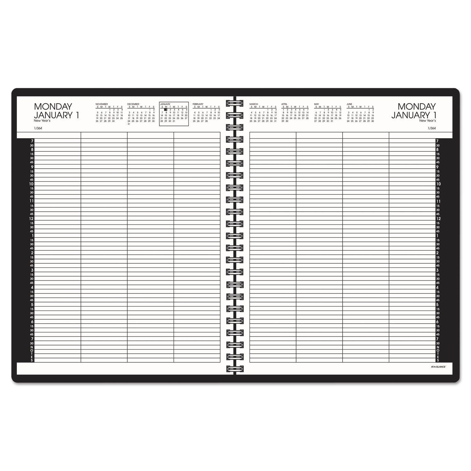 At-A-Glance Eight-Person Group Daily Appointment Book 8 1/2 x 11 White 2017