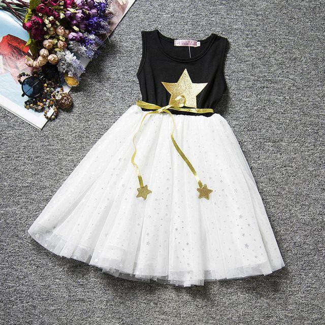 d3d98ceac498 Algodão estrela impressão vestido da menina de verão de alta ...