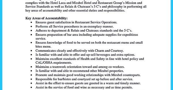 Everything You Must Put Onto Your Impressive Bartenders Resume - waitress resume