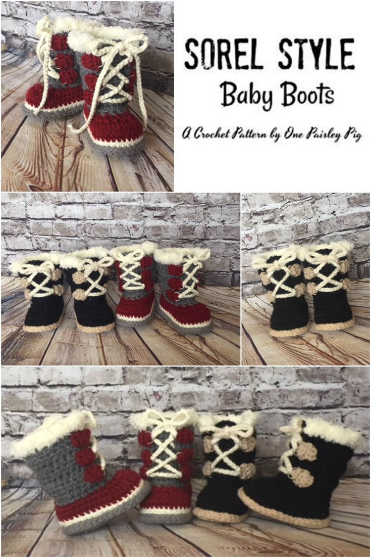 Baby's First Expedition - Winter Boots (Sorel Pacs Style) - PDF CROCHET PATTERN #crochetbabyboots