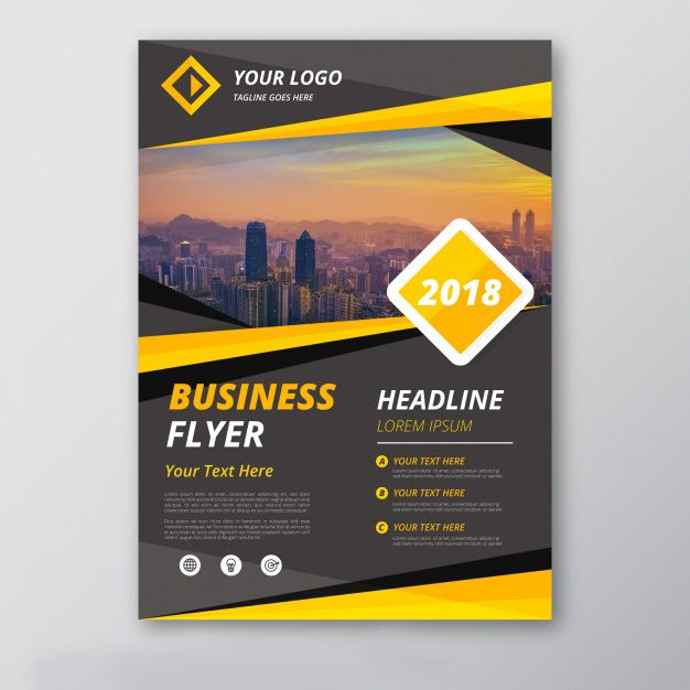 Grey And Yellow Business Flyer Template Free Vector Httpift