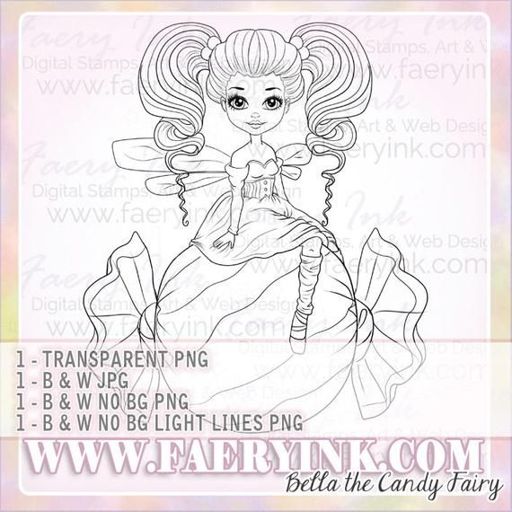 Candy Fairy Fae Faery UNCOLORED Digital Stamp Image Adult ...