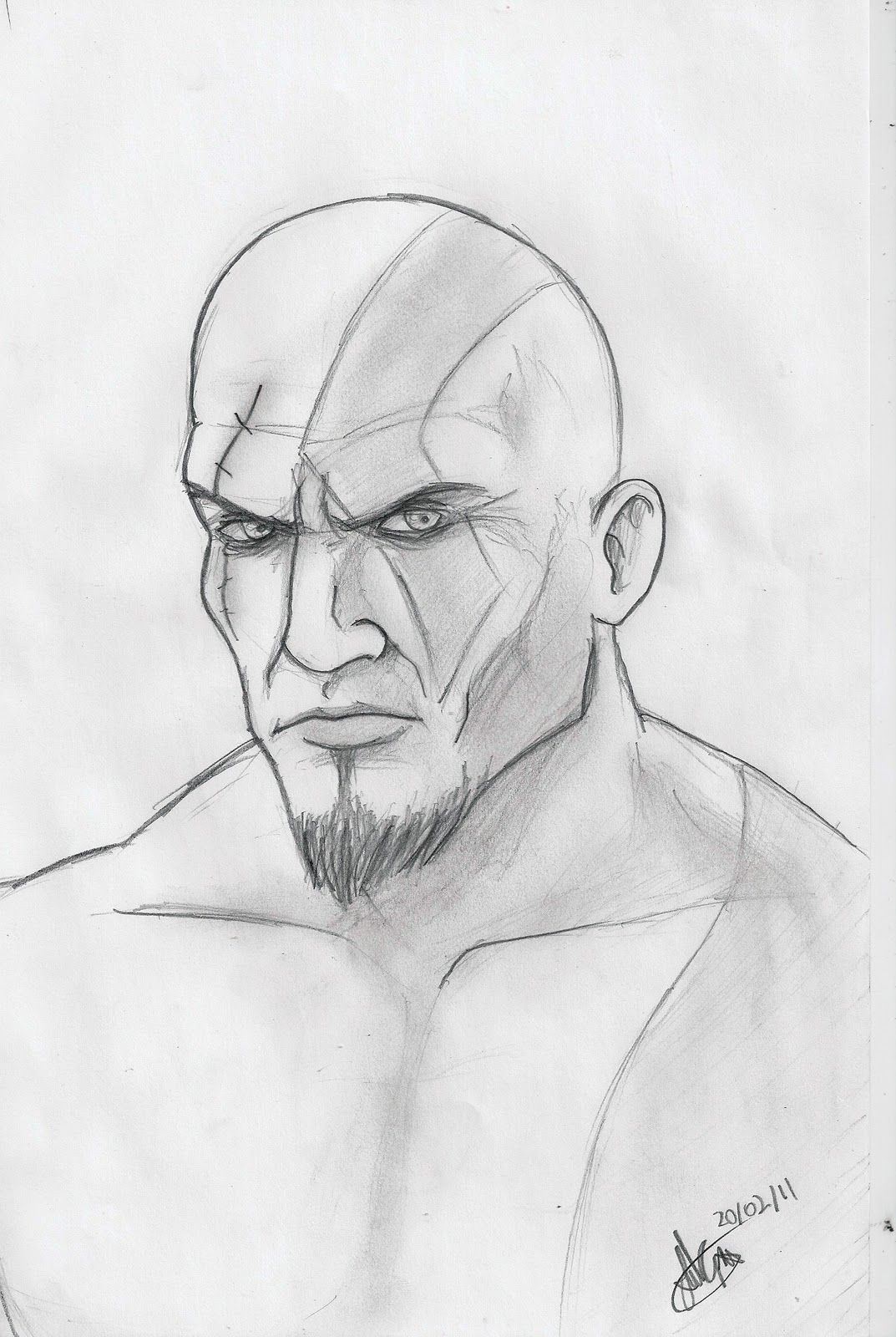 Colorir kratos god of war drawing sketches playstation character design drawing art