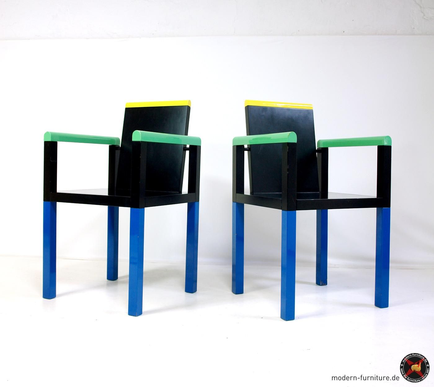 Areaneo George Sowden Palace Chairs For Memphis Milano 1983  # Meuble Tv Munari Milano