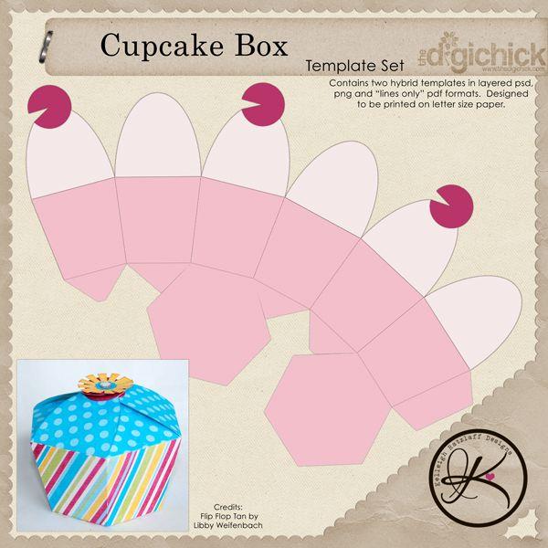 Cupcake Box Template Free Download more at Recipins.  Cajas
