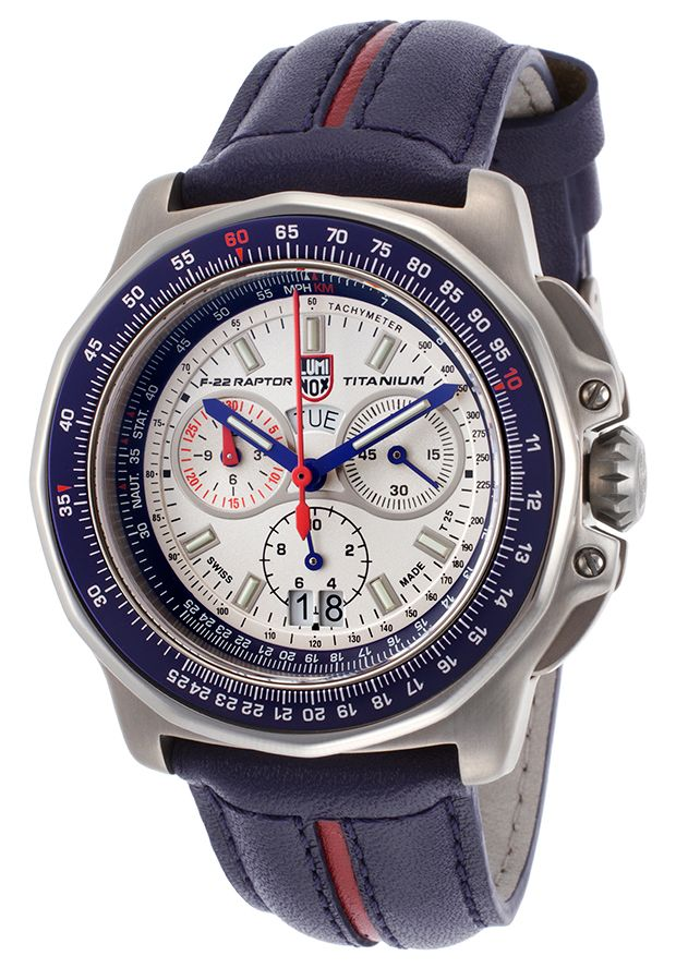 Luminox F-22 Raptor 9270 Series Multi-Function Two-Tone Genuine Leather Silver-Tone Dial from World of Watches