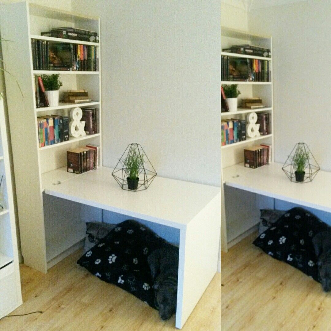Ikea Billy Bookcase With Attached Desk As A Dog Crate Just