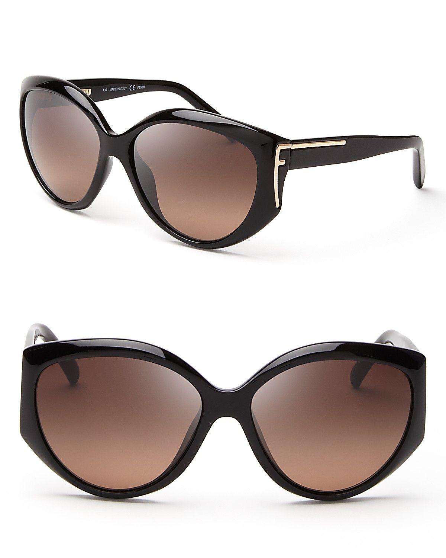 Fendi Rounded Oversized Logo Temple Sunglasses | Bloomingdale's