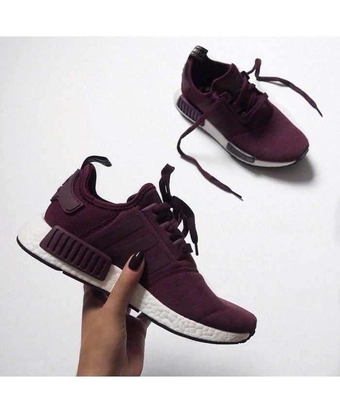 27ebe4125aa Chaussure Adidas NMD R1 Femme Bordeaux Blanc Adidas latest ladies leisure  sports shoes, style fashion, light.