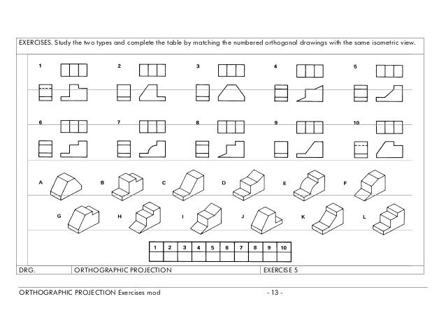 Orthographic Projection Exercises Orthographic Drawing Orthographic Projection Isometric Sketch