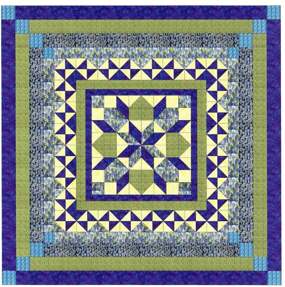 Easy Quilt Kit/Twinkling Bluebells/Blue/Green/Pre-cut Fabrics ... : easy quilt kits - Adamdwight.com