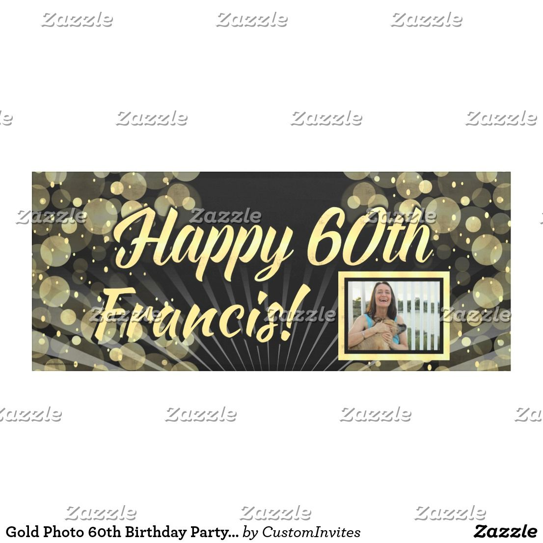 Gold Photo 60th Birthday Party Banner