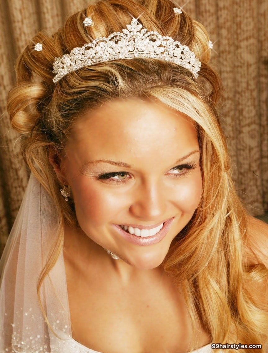 beautiful princess wedding hair with tiara and veil and diamontes