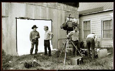 """Richard Avedon at work on """"In the American West"""""""