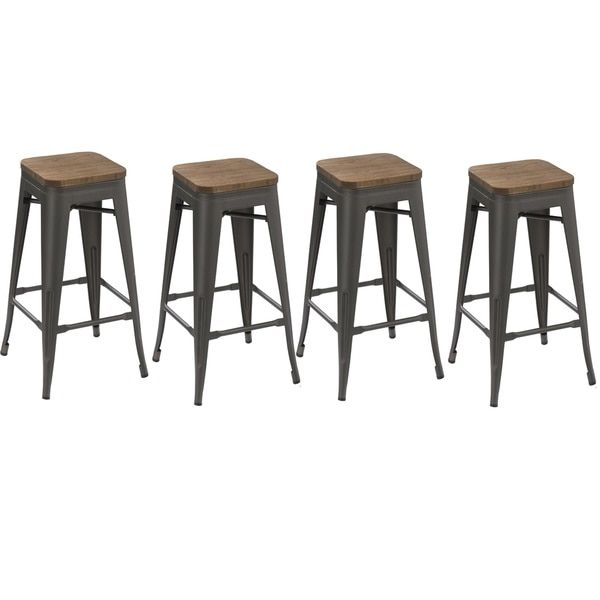 30 Inch Industrial Stackable Antique Distressed Gunmetal Steel Counter Bar Stool With Wood Seat Set Of 4 Barstools Modern Bar Stools Industrial Bar Stools Bar Stools