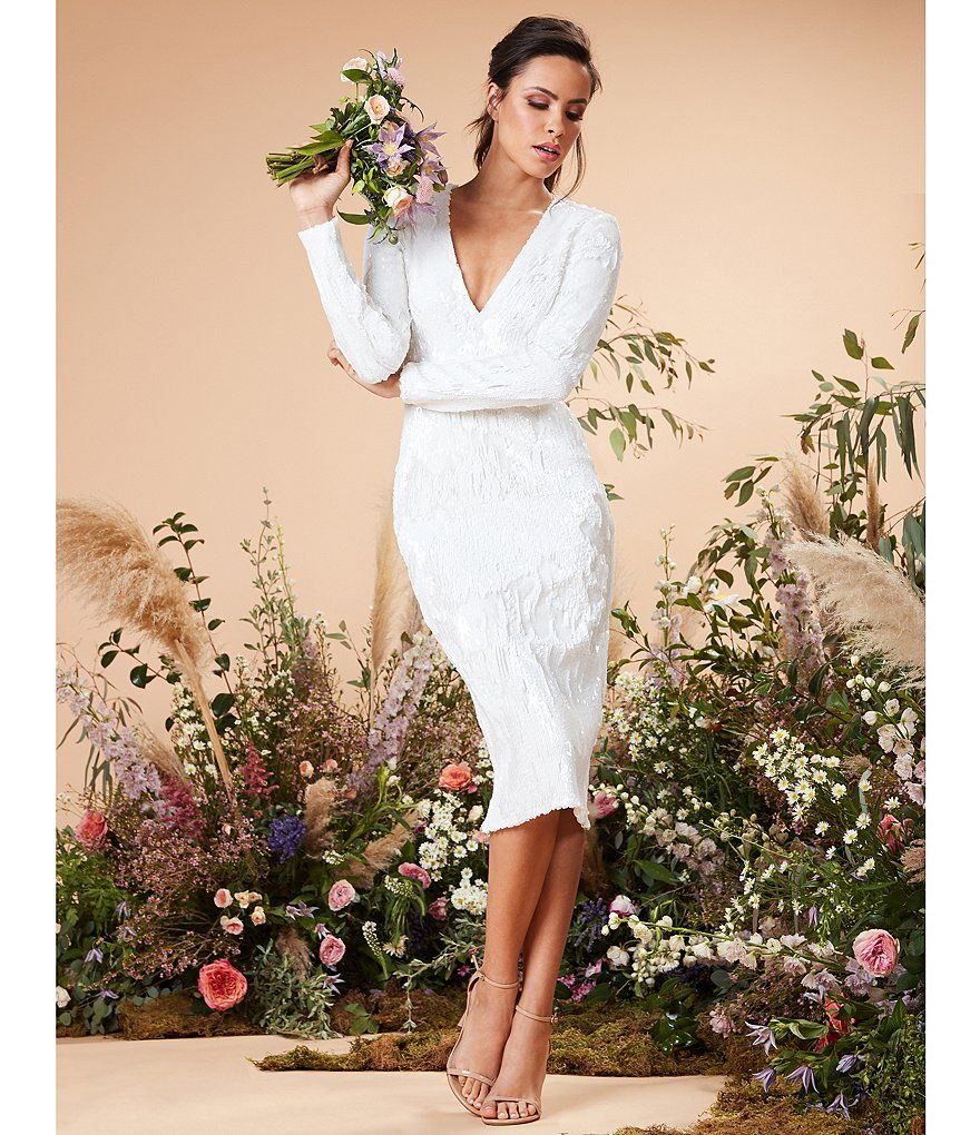 Dress The Population Elizabeth Sequin Long Sleeve V Neck Midi Length Sheath Dress Long Sleeve White Midi Dress Wedding Dress Sequin White Sequin Dress [ 1020 x 880 Pixel ]