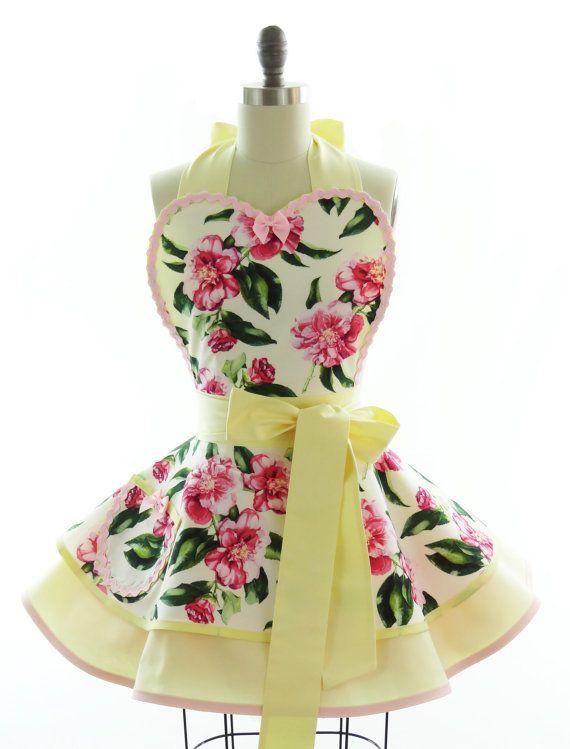 retro apron secret garden sexy womans aprons vintage style apron flora pin up garden. Black Bedroom Furniture Sets. Home Design Ideas