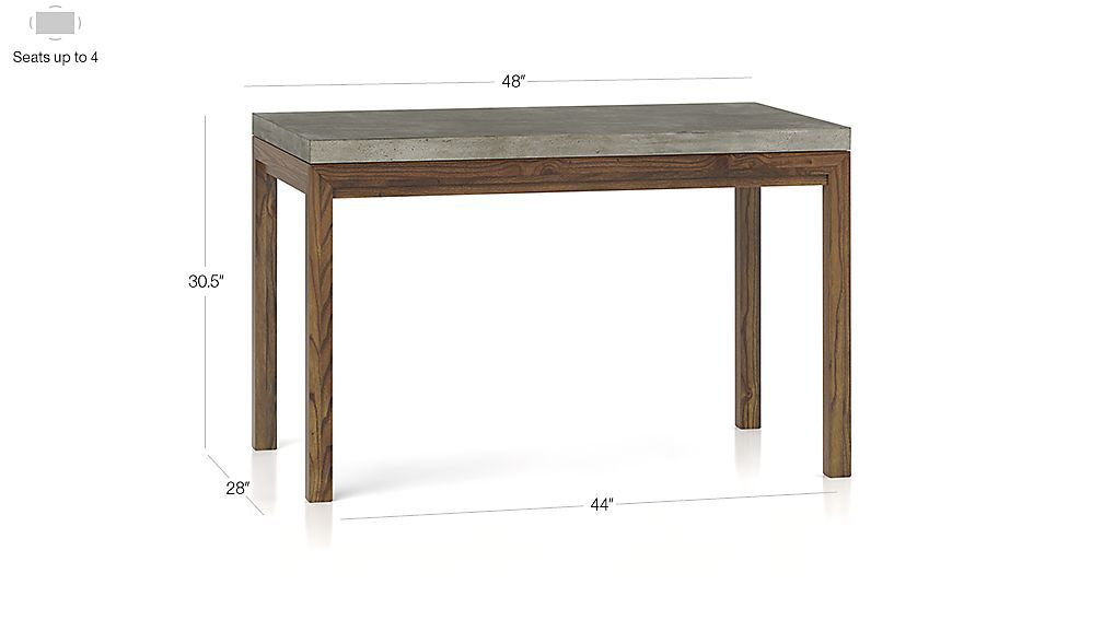 FINAL SELECTION- DINING ROOM TABLE- Concrete Top/ Elm Base 48x28 Dining Table | Crate and Barrel