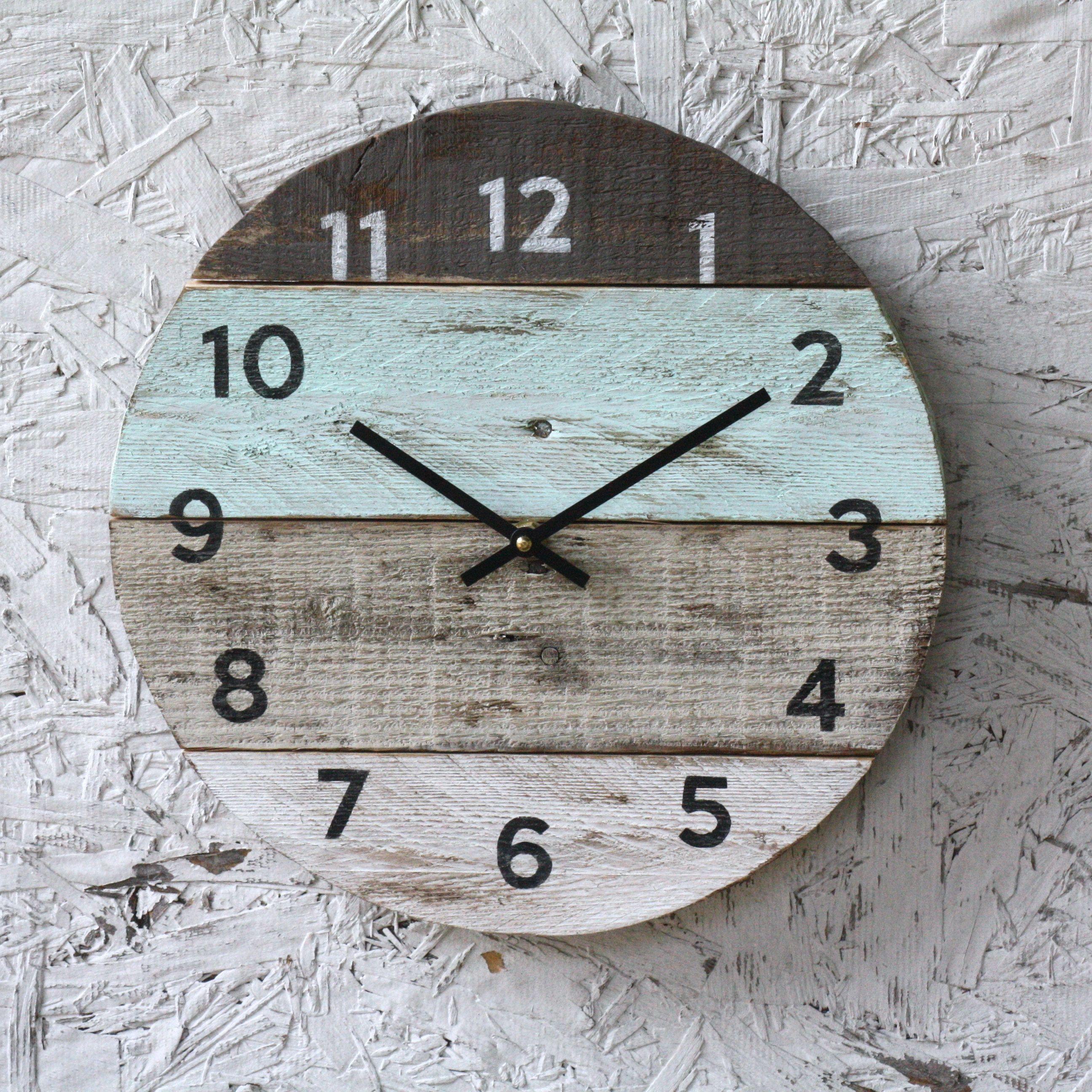 Beach House Clock Handmade Round Clock Reclaimed Wood Wall Clock Pale Sea Foam Green Pallet Wood Coastal Decor Modern Kitchen Clock Wood Clocks Wood Pallets Clock