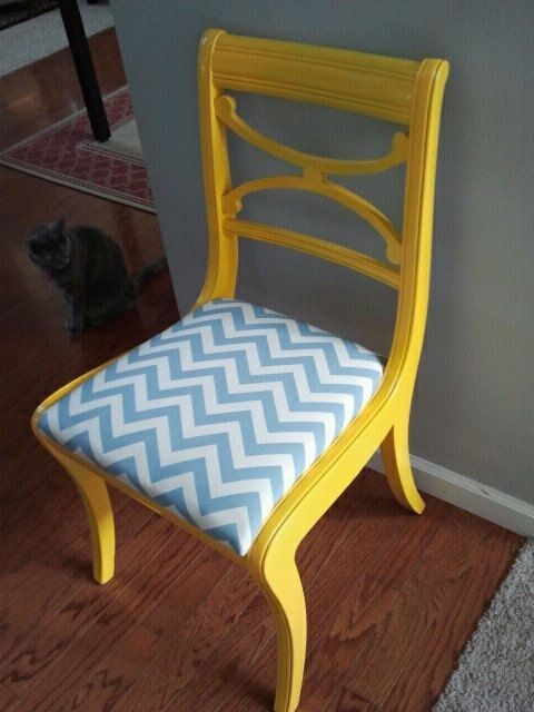 Beautiful Yellow Gloss Chair With Blue And White Chevron Seat.