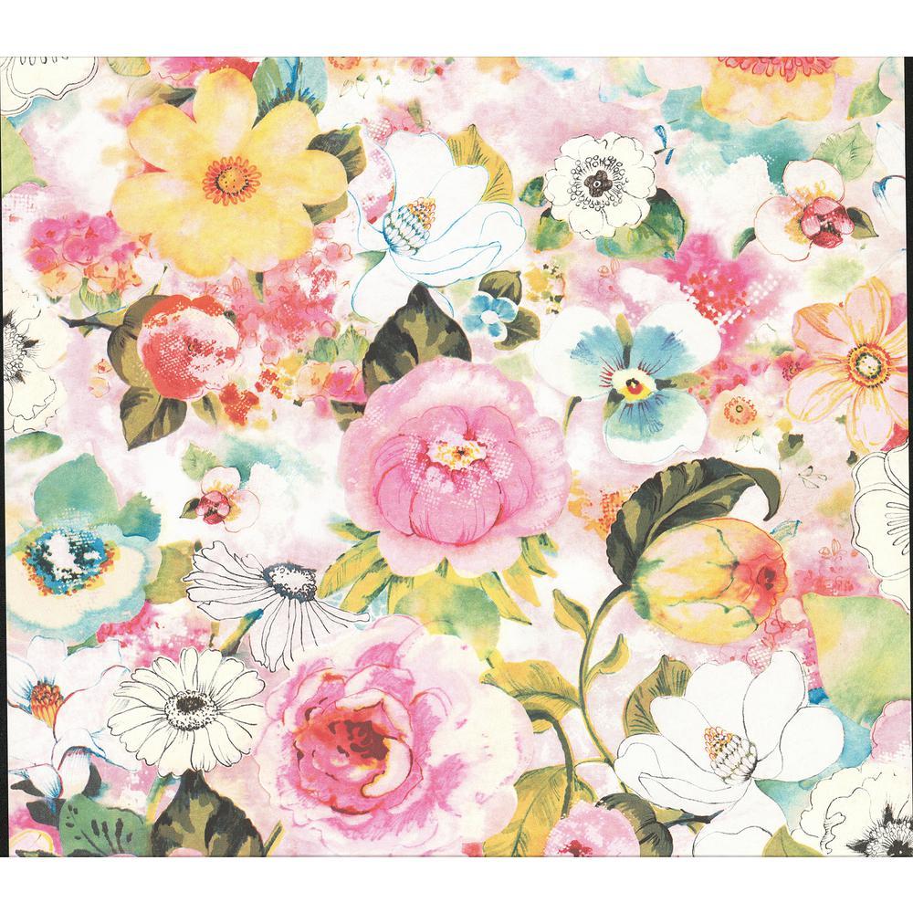 Advantage Baldwin Multicolor Watercolor Floral Wallpaper Sample
