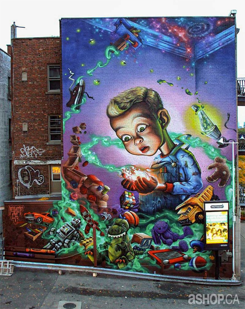 Public murals by ashop crew on the streets of montreal for Art mural montreal