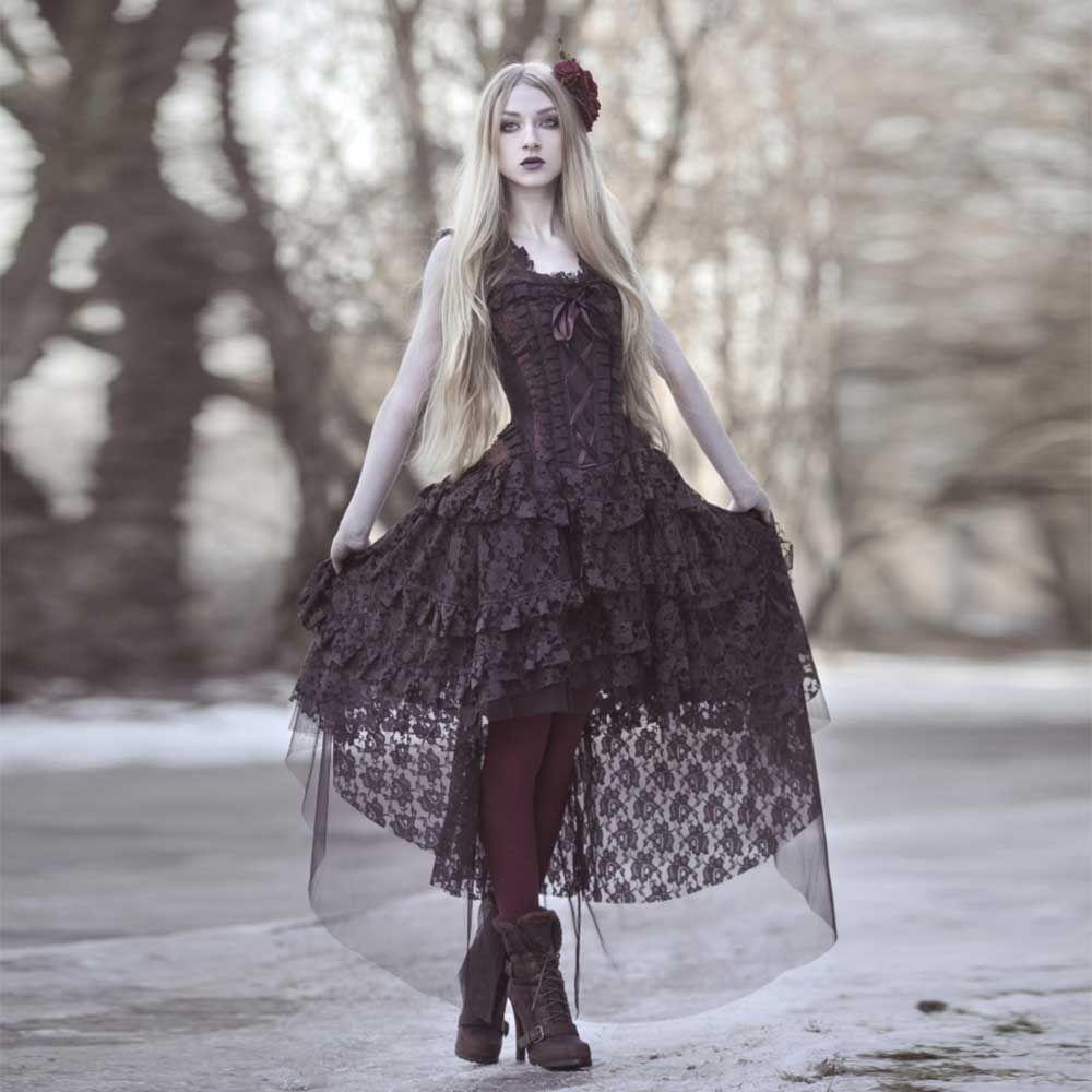 Burleska ophelie burlesque maxi korset jurk in bruin