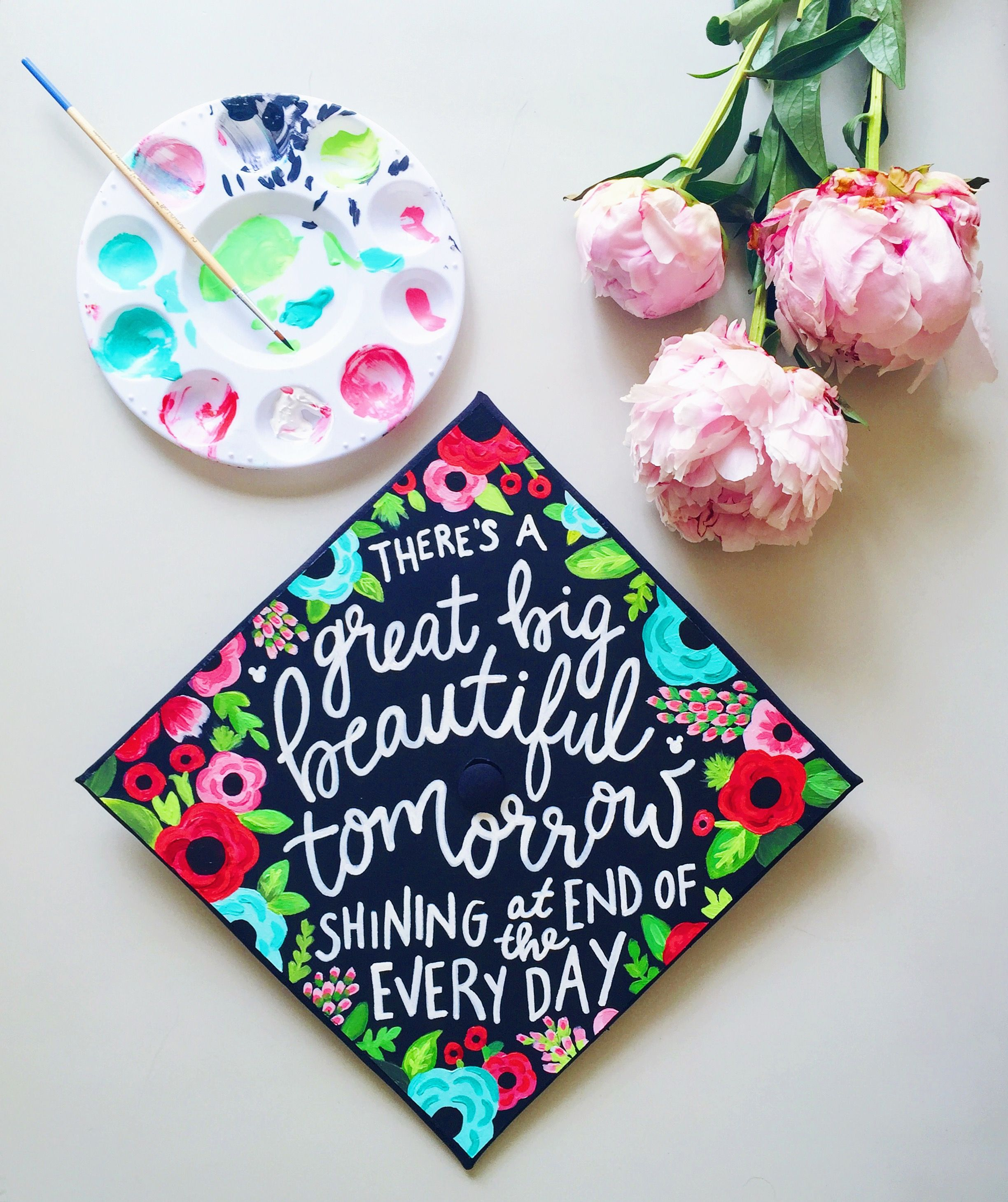 Decorating graduation cap ideas for teachers - Rit Grad Cap 2016 There S A Great Big Beautiful Tomorrow Shining At The End Of Every Day Walt Disney