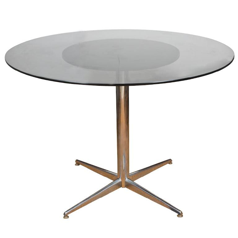 1stdibs.com | Round Chrome Table with Smoked Glass Top