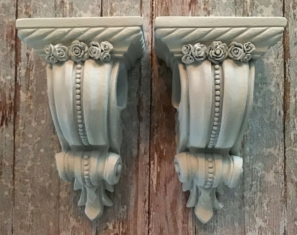 Details About One Pair Of Shabby Farmhouse Curtain Rod Sconces