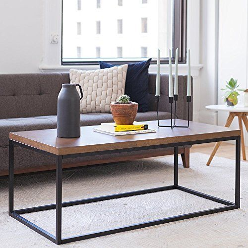 Nathan Home 31101 Doxa Solid Wood Modern Industrial Coffee Table Black Metal Box Frame Wit Modern Industrial Coffee Table Coffee Table Industrial Coffee Table